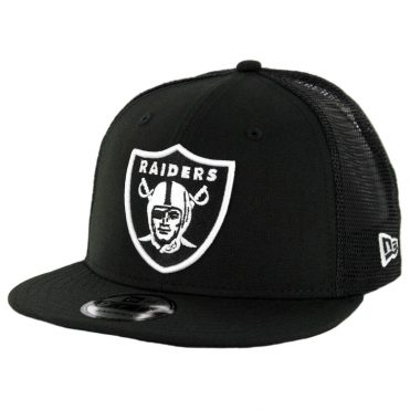 New Era 9Fifty Oakland Raiders Trucker Mesh Snapback Hat Black White