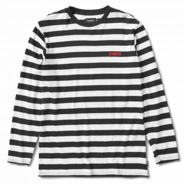 Diamond Supply Co Striped Long Sleeve T-Shirt Black White