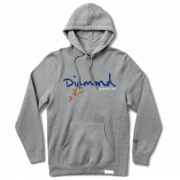 Diamond Supply Co Trinity Hooded Pullover Sweatshirt Heather Grey