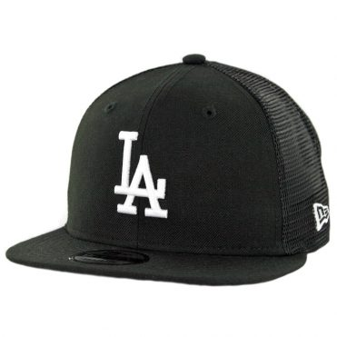 New Era 9Fifty Los Angeles Dodgers Trucker Snapback Hat Black White