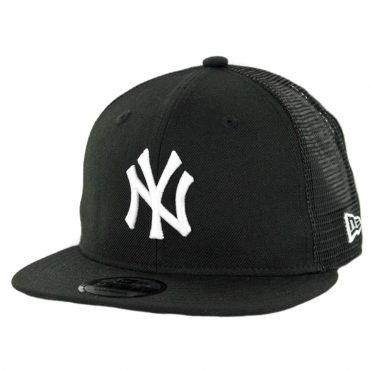 New Era 9Fifty New York Yankees Trucker Snapback Hat Black White