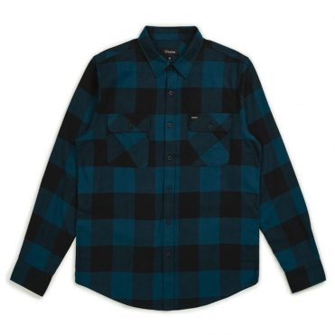 Brixton Bowery Long Sleeve Flannel Shirt Black Teal