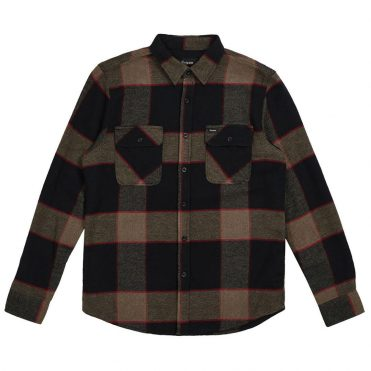 Brixton Bowery Long Sleeve Flannel Shirt Heather Grey Charcoal