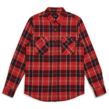 Brixton Bowery Long Sleeve Flannel Shirt Red Navy