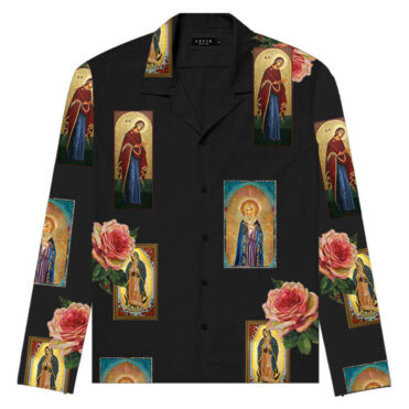Civil Holy Floral Long Sleeve Button Up Shirt Black
