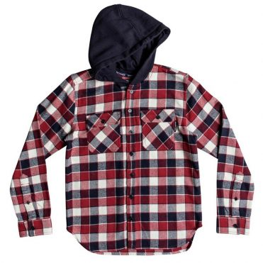 DC Shoes Runnels Flannel Long Sleeve Hooded Shirt Tango Red