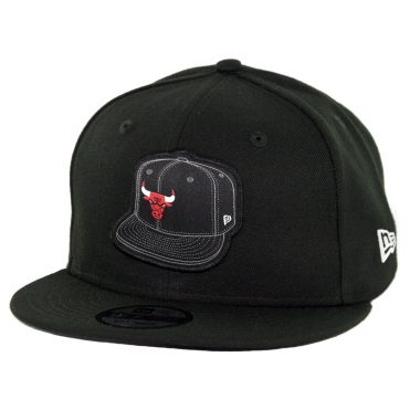 New Era 9Fifty Chicago Bulls Caps On Caps Snapback Hat Black