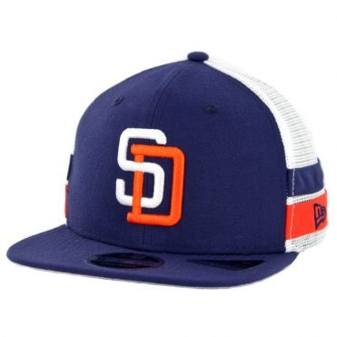 f8f78a06bc9 New Era 9Fifty San Diego Padres Striped Side Lineup Snapback Hat Light Navy  ...