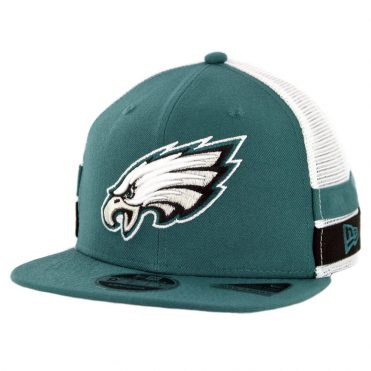 New Era 9Fifty Philadelphia Eagles Striped Side Lineup Snapback Hat Midnight Green