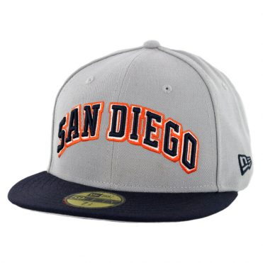 New Era 59Fifty CTO San Diego Padres 1991 Wordmark Jersey Logo 2 Fitted Hat Grey Dark Navy