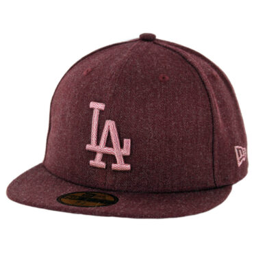 New Era 59Fifty Los Angeles Dodgers Twisted Frame Fitted Hat Heather Cardinal
