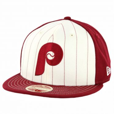 New Era 59Fifty Philadelphia Phillies 1970 Vintage Stripe Cooperstown Fitted Hat Maroon