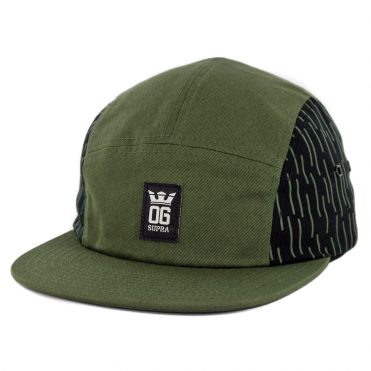 Supra OG Crown 5 Panel Strapback Hat Olive Black White