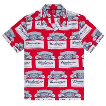 HUF Budweiser Label Short Sleeve Button Up Shirt Red