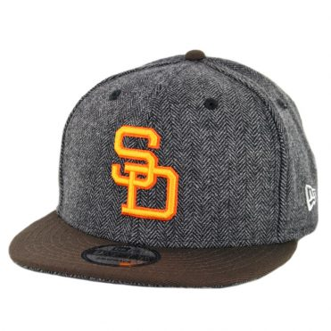 New Era 9Fifty San Diego Padres 1980-1984 Pattern Pop Snapback Hat Heather Graphite Brown