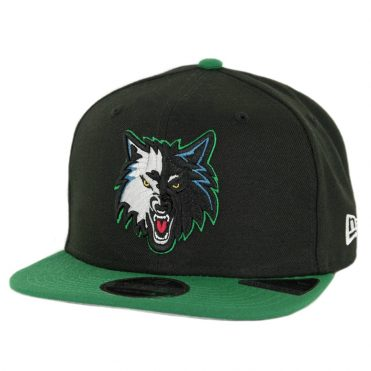 New Era 9Fifty Minnesota Timberwolves Nights 7 Snapback Hat Black Kelly Green