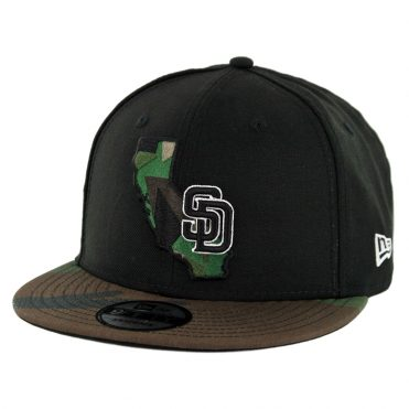 New Era 9Fifty San Diego Padres Cali State Snapback Hat Black Woodland Camo