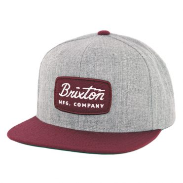 Brixton Jolt Snapback Hat Heather Grey Burgundy