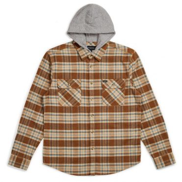 Brixton Bowery Hooded Long Sleeve Shirt Copper Natural