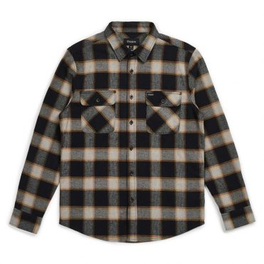Brixton Bowery Long Sleeve Flannel Shirt Black Cream