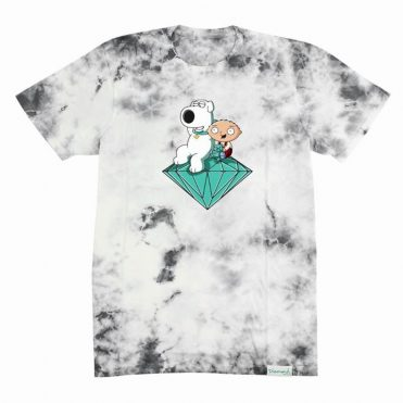 Diamond Supply Co x Family Guy Stewie And Brian Crystal Wash T-Shirt Black