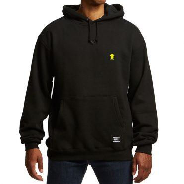 Grizzly OG Bear Embroidered Pullover Hooded Sweatshirt Black Yellow