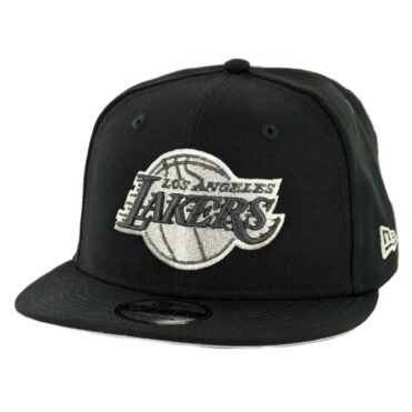 New Era 9Fifty Los Angeles Lakers Snapback Hat Black Metallic Silver