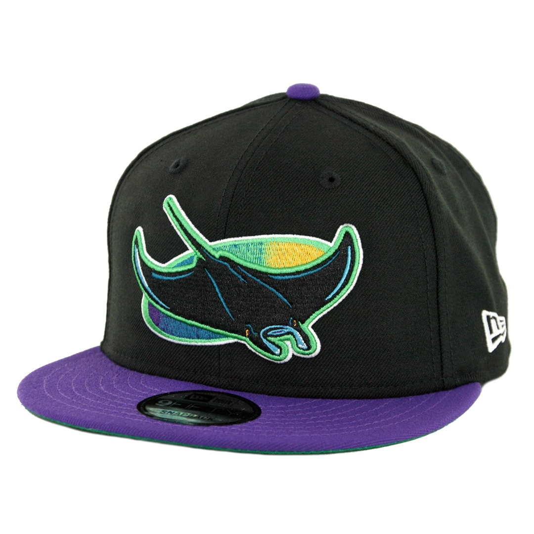 size 40 733d2 1b2a4 New Era 9Fifty Tampa Bay Rays Cooperstown Logo Pack Snapback Hat Black