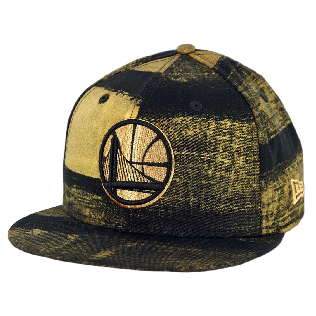 b61bb322f5d New Era 9Fifty Golden State Warriors Painted Prime Snapback Hat Black Gold  - Billion Creation Streetwear