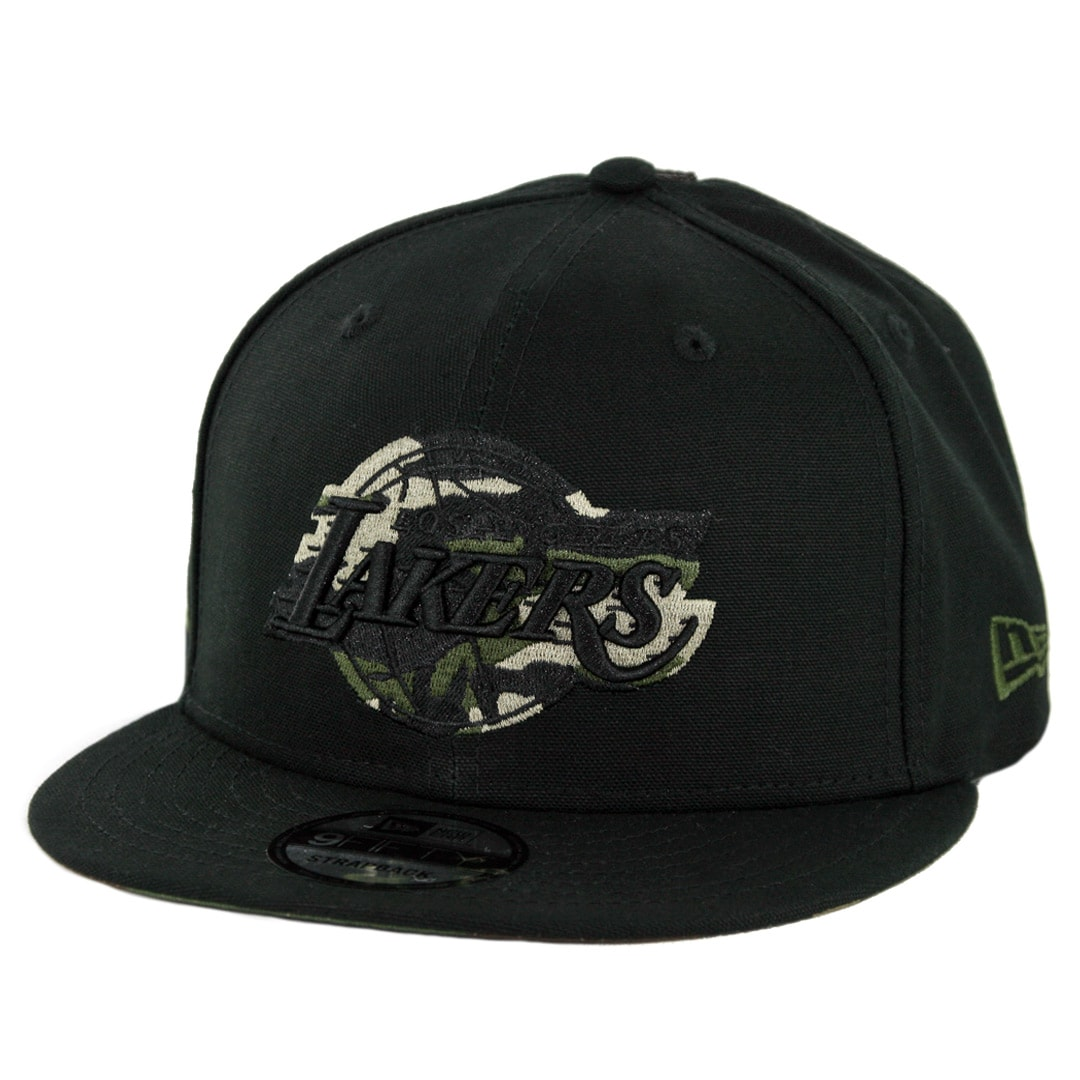 df1361ee88d New Era 9Fifty Los Angeles Lakers Camo Hit Strapback Hat Black Woodland  Camo - Billion Creation Streetwear