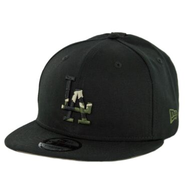 New Era 9Fifty Los Angeles Dodgers Camo Hit Strapback Hat Black Woodland Camo