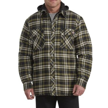Dickies TJ201 Hooded Quilted Shirt Jacket Military Green White Plaid