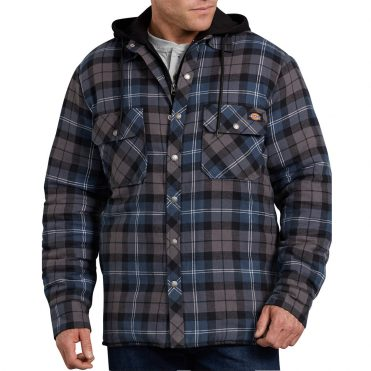 Dickies TJ201 Hooded Quilted Shirt Jacket Dark Blue Grey Plaid