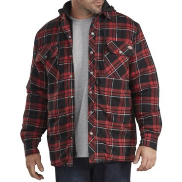 Dickies TJ201 Hooded Quilted Shirt Jacket Grey Red Plaid