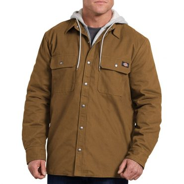Dickies TJ203 Hooded Duck Quilted Shirt Jacket Brown Duck