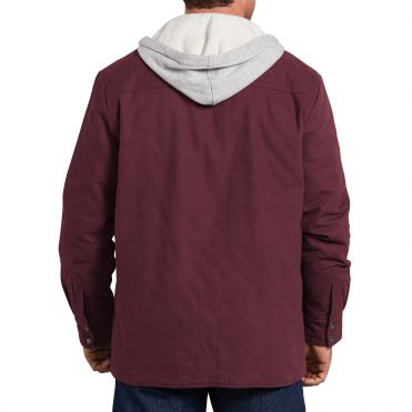 Dickies TJ203 Hooded Duck Quilted Shirt Jacket Burgundy