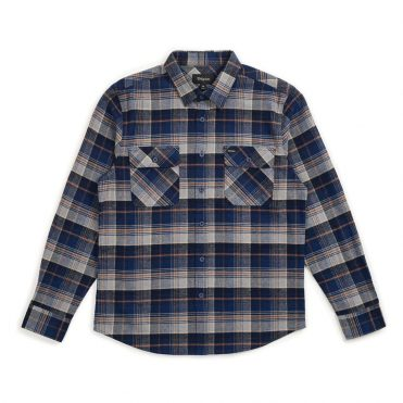 Brixton Bowery Long Sleeve Flannel Shirt Blue Night