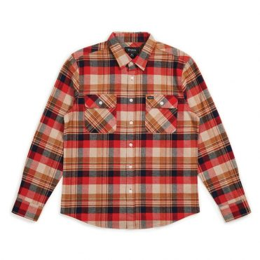 Brixton Bowery Long Sleeve Flannel Shirt Red Copper