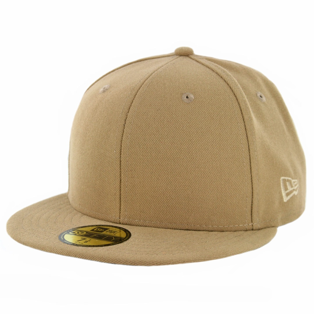 64d77f3646c New Era 59Fifty Plain Blank Fitted Hat Khaki Tonal - Billion Creation  Streetwear
