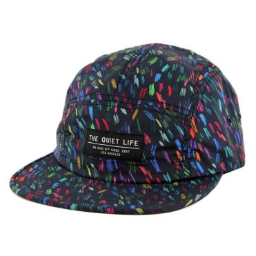 The Quiet Life Scribble 5 Panel Camper Clipback Hat Black