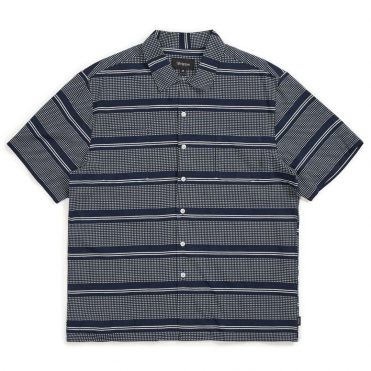 Brixton Cruze Woven Shirt Navy Off White