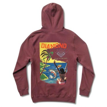 Diamond Supply Co Fishing For Compliments Pullover Hooded Sweatshirt Burgundy