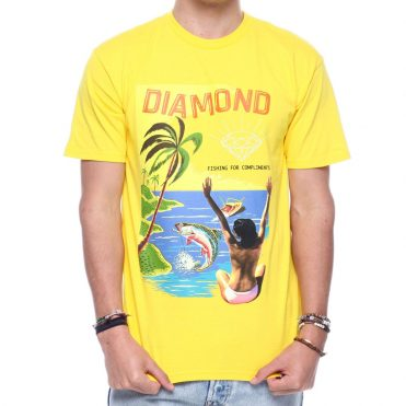 Diamond Supply Co Fishing For Compliments T-Shirt Yellow