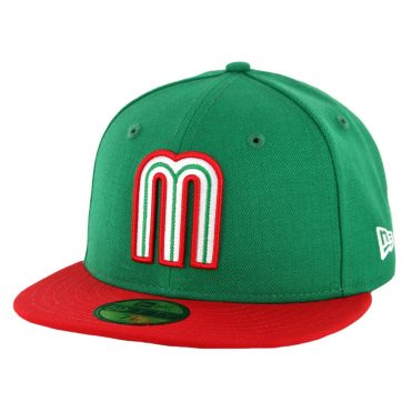New Era 59Fifty Mexico Baseball Fitted Hat Kelly Green Scarlet Red