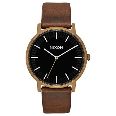 Nixon Porter Leather Watch Brass Black Brown