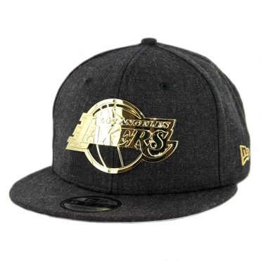 New Era 9Fifty Los Angeles Lakers Metal Framed 2 Snapback Hat Heather Black
