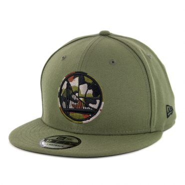 New Era 9Fifty Golden State Warriors Camo Trim Snapback Hat Olive Green