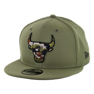 New Era 9Fifty Chicago Bulls Camo Trim Snapback Hat Olive Green