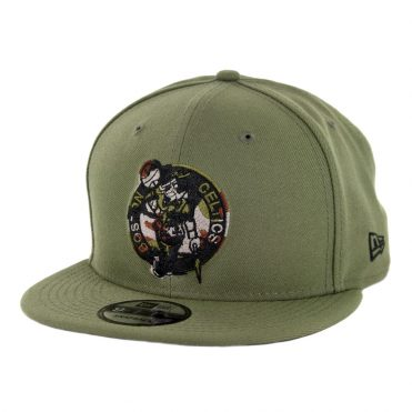 New Era 9Fifty Boston Celtics Camo Trim Snapback Hat Olive Green
