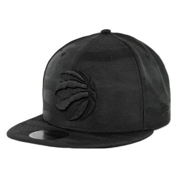 New Era 9Fifty Toronto Raptors Blackout Camo Play Snapback Hat Black